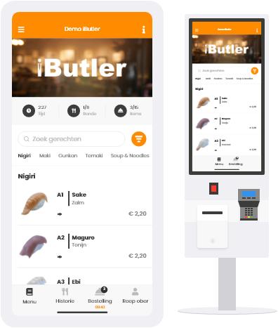voorbeeld scherm QR bestellen en bestelzuil